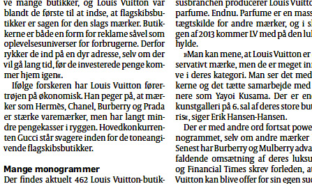 Erik Hansen-Hansen in Politiken October 2012 Louis Vuitton