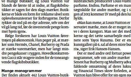 Erik Hansen-Hansen in Politiken October 2012 Louis Vuitton