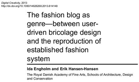 The fashion blog as genre