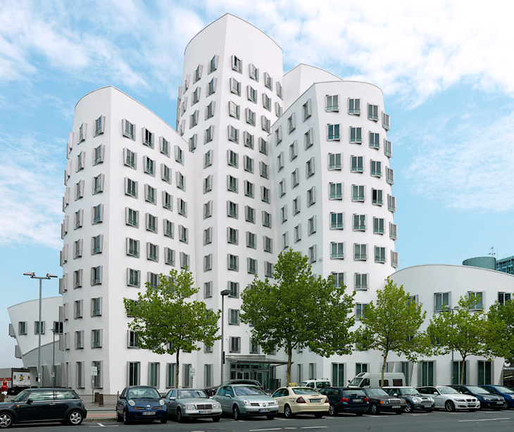 The white office building by Architect Frank O. Gehry at The New Zollhof or Der Neue Zollhof in Düsseldorf Medienhafen